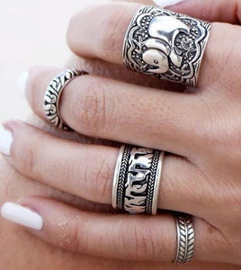 Boho Elephant Ring Set