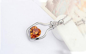 Drift Bottle Crystal Heart Necklace