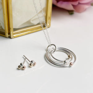 Cicee love strength hope earring and necklace rose gold gold and silver