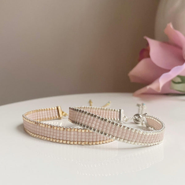 Pink Champagne bead bracelet - available in both gold and silver options