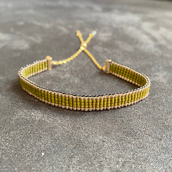 Woven bead bracelet in olive stripes - available in both gold and silver options