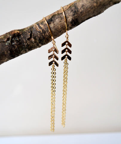 Cicee Creative | Long gold plated chevron earrings