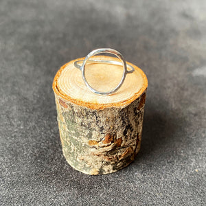 Hammered circle silver ring