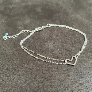cicee hammered heart double strand bracelet