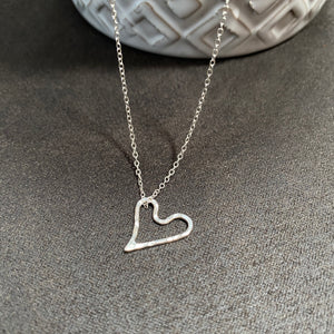 Cicee hammered eco silver heart necklace