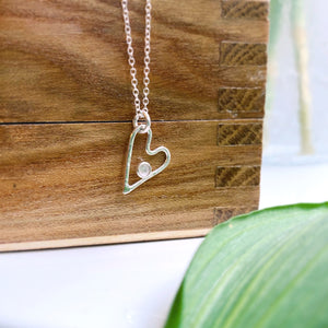 Cicee silver heart necklace with rose quartz stone