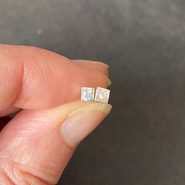 Cicee small square silver stud earring
