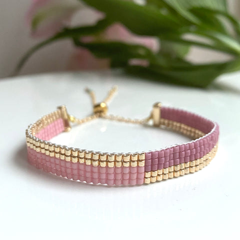 Cicee woven bead bracelet in sweet romance pink  beads