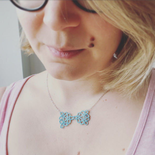 Cicee Creative | Tatted lace bow necklace