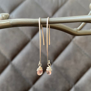 Cicee silver and tourmaline threader earrings