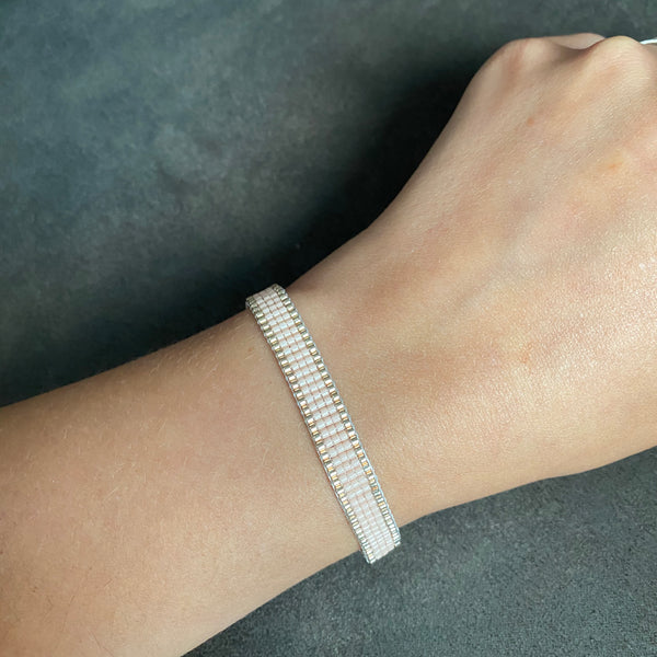https://www.cicee-creative.co.uk/products/woven-bead-bracelet-nude-and-silver-stripes