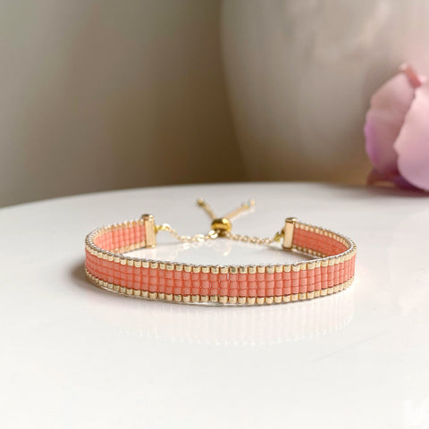 Cicee coral and gold woven bead bracelets handmade