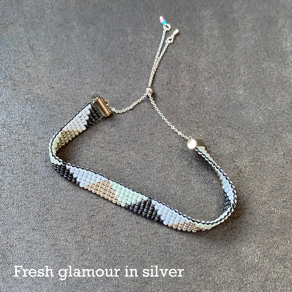 Cicee woven bead bracelet in fresh glamour silver