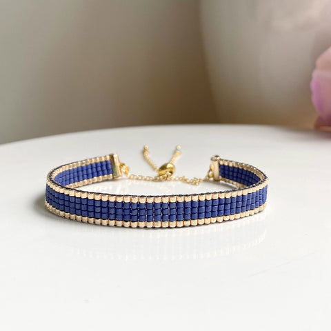 Cicee navy and gold woven bead bracelets handmade