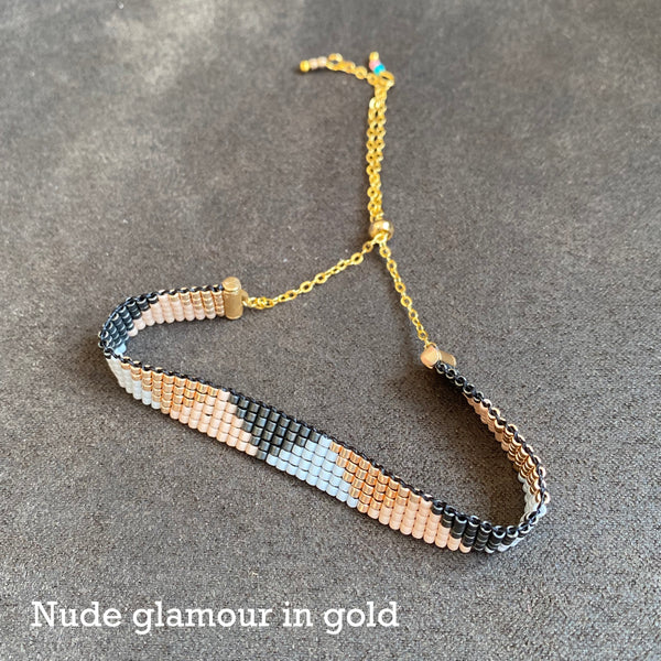 Cicee woven bead bracelet in nude glamour gold