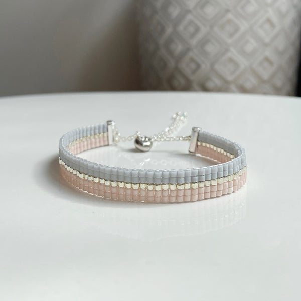 Pink and grey equator bead bracelet - available in both gold and silver options