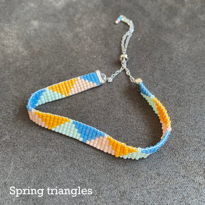 Cicee woven bead bracelet in spring triangles