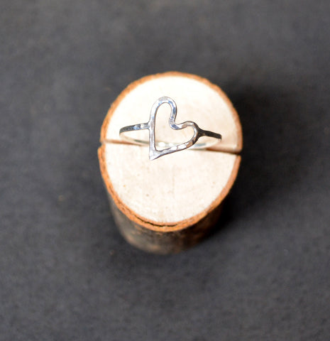 Cicee Creative | Hammered Eco Silver Heart Ring