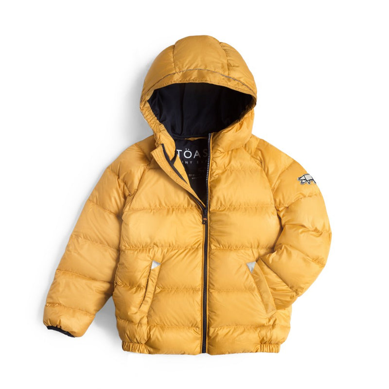 Töastie sustainable puffer jacket for kids ochre
