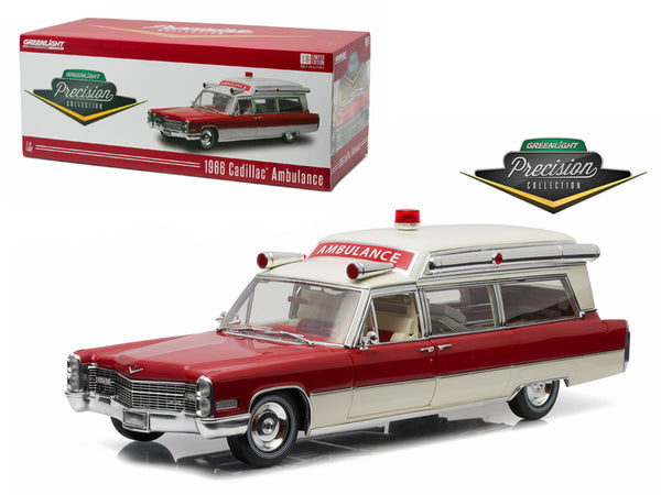 1966 Cadillac S&S 48 High Top Ambulance Red and White Precision Collection Limited Edition 1/18 Diecast Model Car by Greenlight