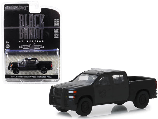 "2019 Chevrolet Silverado SSV Pickup Truck ""Black Bandit Police"" ""Black Bandit"" Series 21 1/64 Diecast Model Car by Greenlight"