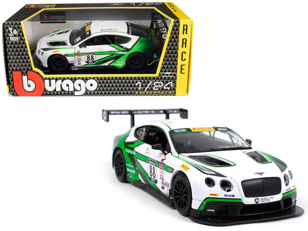 Bentley Continental GT3 #88 White and Green 1/24 Diecast Model Car by Bburago