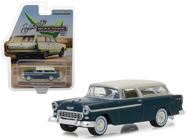 "1955 Chevrolet Nomad Glacier Blue with Cream Top ""Estate Wagons"" Series 1 1/64 Diecast Model Car by Greenlight"