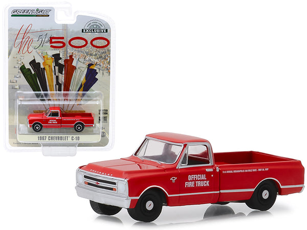 "1967 Chevrolet C-10 Fire Pickup Truck Red ""51th Annual Indianapolis 500 Mile Race"" Official Fire Truck ""Hobby Exclusive"" 1/64 Diecast Model Car by Greenlight"