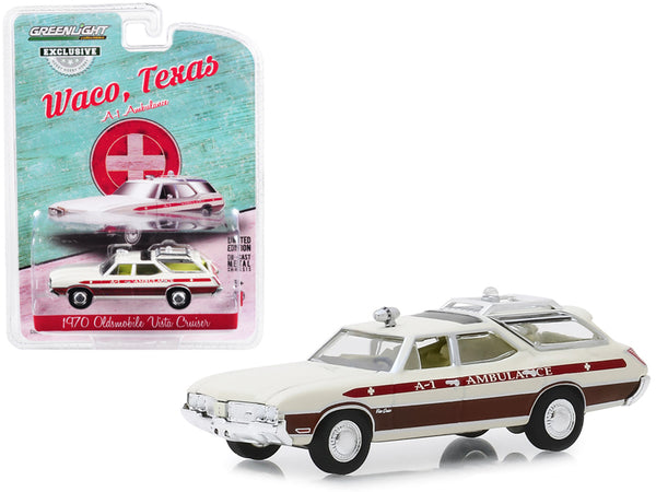 "1970 Oldsmobile Vista Cruiser A-1 Ambulance Cream (Waco, Texas) ""Hobby Exclusive"" 1/64 Diecast Model Car by Greenlight"