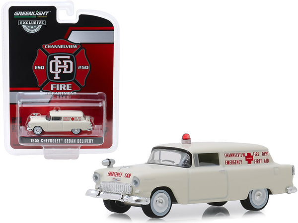 "1955 Chevrolet Sedan Delivery Cream ""Channelview, Texas Fire Department Volunteer Emergency Car"" ""Hobby Exclusive"" 1/64 Diecast Model Car by Greenlight"
