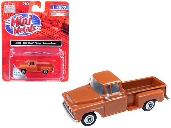 1955 Chevrolet Pickup Truck Autumn Brown 1/87 (HO) Scale Model Car by Classic Metal Works