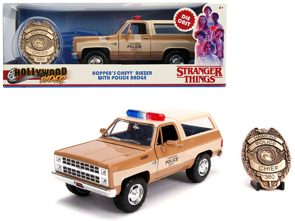 "Hopper's Chevrolet Blazer with Police Badge ""Hawkins Police Dept."" ""Stranger Things"" (2016) TV Series 1/24 Diecast Model Car by Jada"