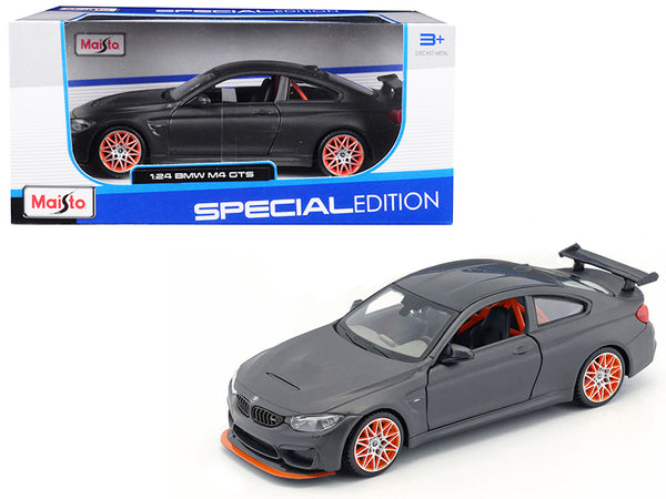 BMW M4 GTS Gray with Carbon Top and Orange Wheels 1/24 Diecast Model Car by Maisto