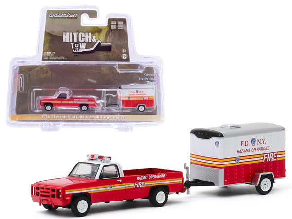 "1986 Chevrolet M1008 Pickup Truck and Small Cargo Trailer ""The Official Fire Department City of New York"" (FDNY) ""Haz-Mat Operations"" ""Hitch & Tow"" Series 19 1/64 Diecast Model Car by Greenlight"