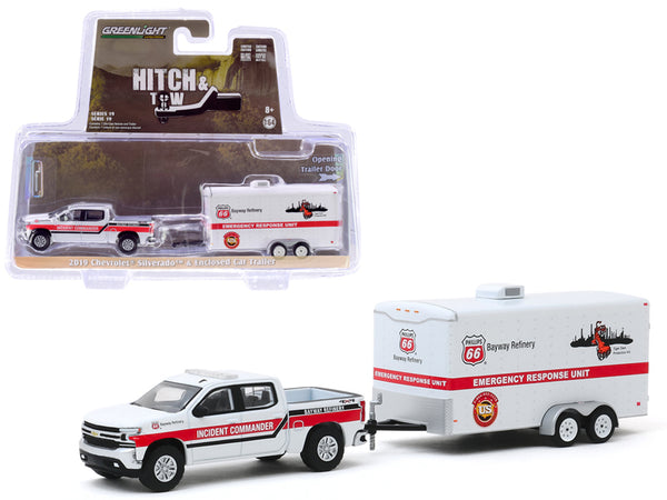 "2019 Chevrolet Silverado Pickup Truck White and ""Phillips 66 Bayway Refinery"" Emergency Response Unit Enclosed Car Trailer White ""Hitch & Tow"" Series 19 1/64 Diecast Model Car by Greenlight"