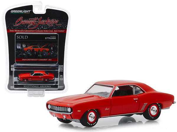 "1969 Chevrolet Camaro ZL1 (Lot #1409) Hugger Orange ""Barrett Jackson ""Scottsdale Edition"" Series 3 1/64 Diecast Model Car by Greenlight"