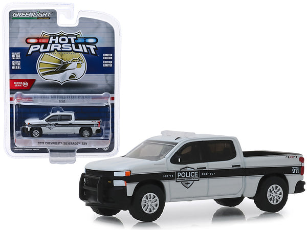 "2019 Chevrolet Silverado SSV Pickup Truck ""General Motors Fleet Police"" ""Hot Pursuit"" Series 32 1/64 Diecast Model Car by Greenlight"