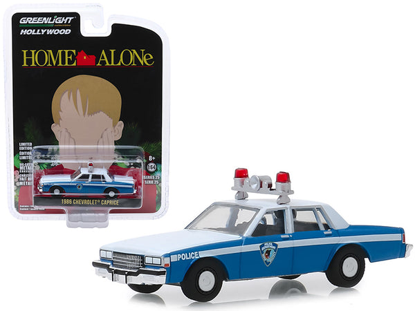 "1986 Chevrolet Caprice Blue and White ""Wilmette, Illinois Police"" ""Home Alone"" (1990) Movie ""Hollywood Series"" Release 25 1/64 Diecast Model Car by Greenlight"