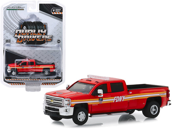 "2018 Chevrolet Silverado 3500 Pickup Truck ""The Official Fire Department City of New York"" (FDNY) ""Dually Drivers"" Series 2 1/64 Diecast Model Car by Greenlight"