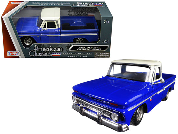 1966 Chevrolet C10 Fleetside Pickup Truck Blue with Cream Top 1/24 Diecast Model Car by Motormax
