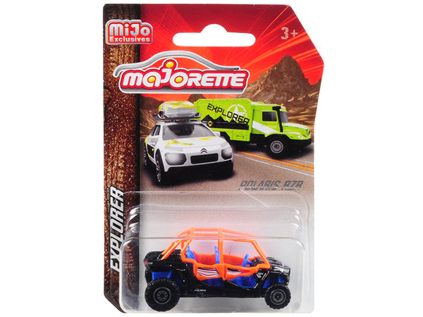 "Polaris RZR ATV Black/Orange/Blue ""Explorer"" 1/61 Diecast Model by Majorette"