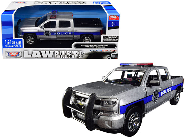 "2017 Chevrolet Silverado 1500 LT Z71 Crew Cab Police Silver ""Law Enforcement and Public Service"" Series 1/24 Diecast Model Car by Motormax"