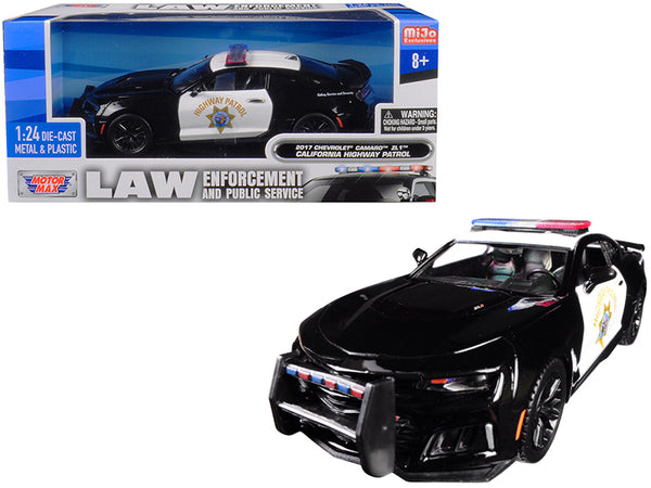 "2017 Chevrolet Camaro ZL1 California Highway Patrol (CHP) Black and White ""Law Enforcement and Public Service"" Series 1/24 Diecast Model Car by Motormax"