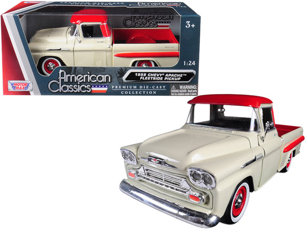1958 Chevrolet Apache Fleetside Pickup Truck Cream with Red Top 1/24 Diecast Model Car by Motormax