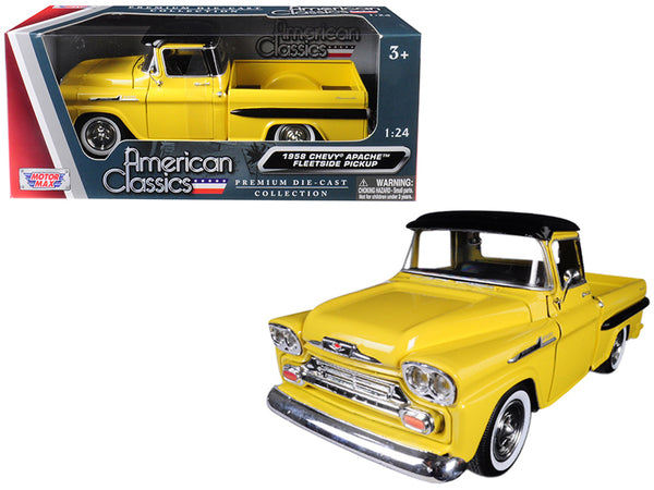 1958 Chevrolet Apache Fleetside Pickup Truck Yellow with Black Top 1/24 Diecast Model Car by Motormax