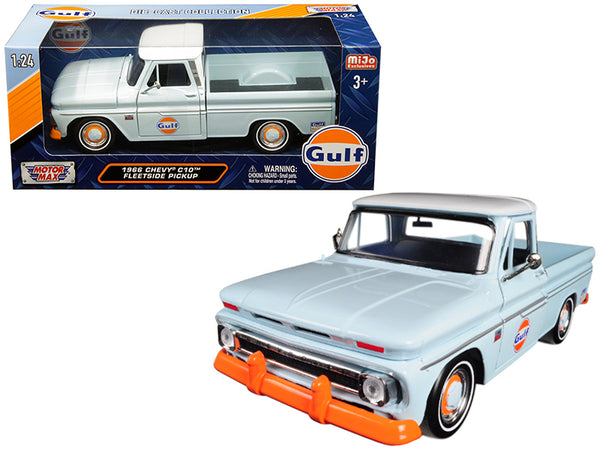 "1966 Chevrolet C-10 Fleetside Pickup Truck ""Gulf"" Light Blue with White Top 1/24 Diecast Model Car by Motormax"