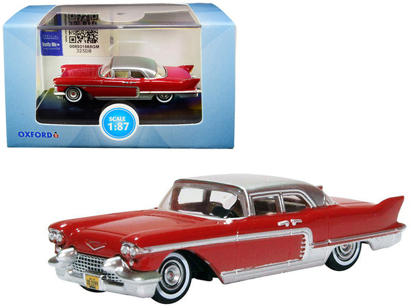 1957 Cadillac Eldorado Brougham Dakota Red with Silver Metallic Top 1/87 (HO) Scale Diecast Model Car by Oxford Diecast