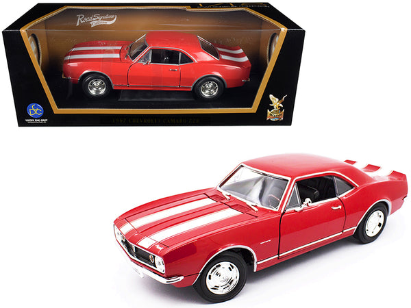 1967 Chevrolet Camaro Z/28 Red with White Stripes 1/18 Diecast Model Car by Road Signature