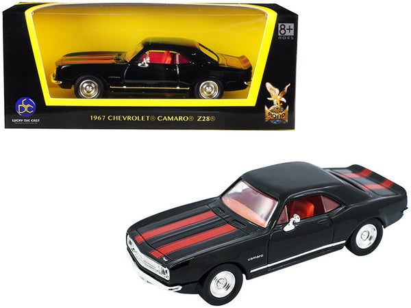 1967 Chevrolet Camaro Z-28 Black with Red Stripes 1/43 Diecast Model Car by Road Signature