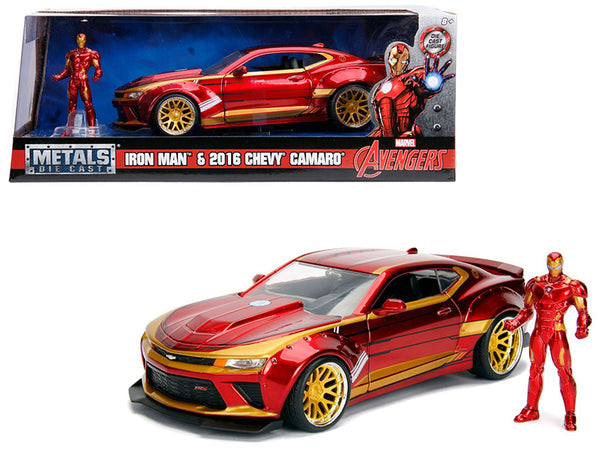 "2016 Chevrolet Camaro with Iron Man Diecast Figure ""Marvel"" Series 1/24 Diecast Model Car by Jada"